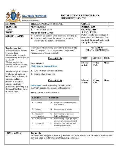 social sciences lesson plan term 4 geograpghy