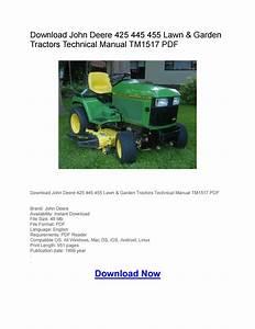 Download John Deere 425 445 455 Lawn  U0026 Garden Tractors