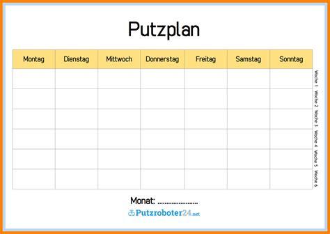 Putzen Plan by 10 Putzplan Excel Karlton Says