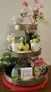 tiered tray easter decor diy sweetheart