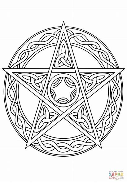 Wiccan Pentagram Coloring Pentacle Pages Drawing Wicca