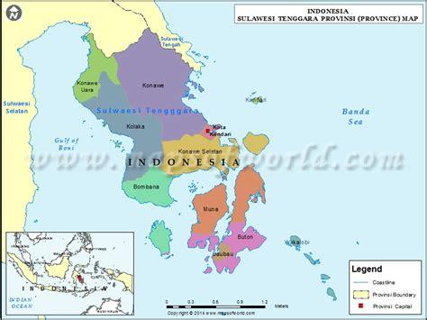 sulawesi tenggara map map of sulawesi tenggara province
