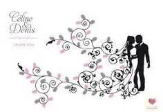 arbre a empreinte mariage arbre à empreintes moderne et romantique thème floral et rétro couleur au choix