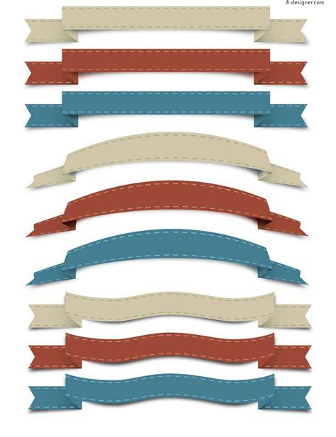 4 designer exquisite ribbon design vector material