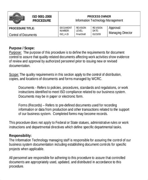 information technology procedure template working template 6 free word pdf document downloads free premium templates