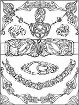 Coloring Pages Jewelry Dover Nouveau Necklace Printable Bracelet Publications Belt Buckle Books Adult Colouring Drawing Welcome Brac Beginners Doverpublications Bracelets sketch template