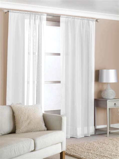Home Decor Amusing White Curtains Combine With Slot Top