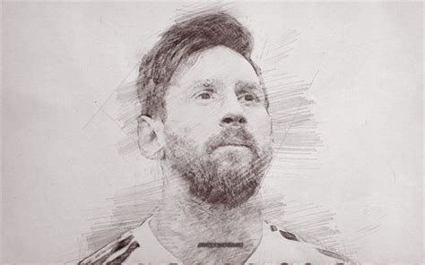 Download wallpapers Lionel Messi, portrait, pencil drawing ...