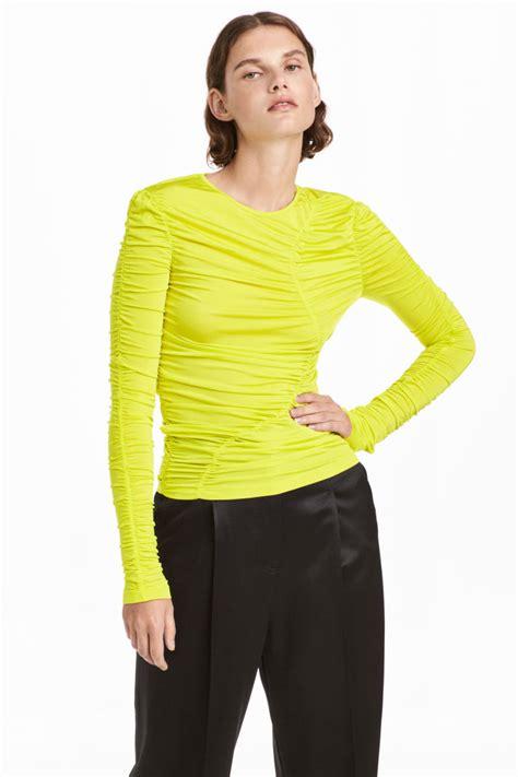 h m draped top draped top neon yellow sale h m us