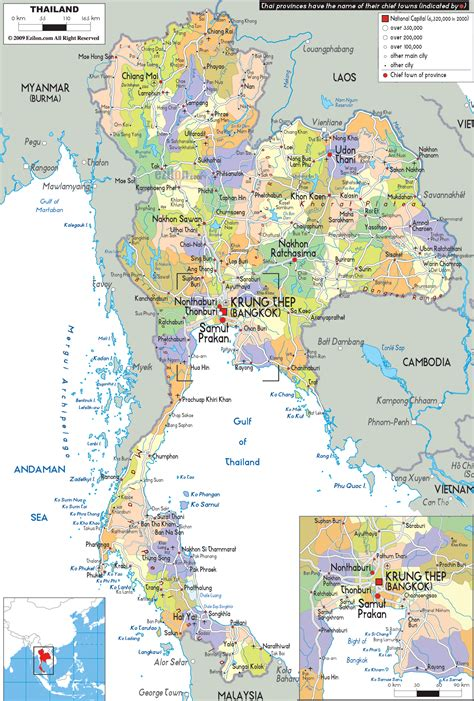 detailed large political map  thailand showing names