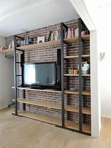 Meuble Bibliothèque Bois : best 20 meuble acier ideas on pinterest etagere bois et metal meuble metal and meuble en metal ~ Teatrodelosmanantiales.com Idées de Décoration