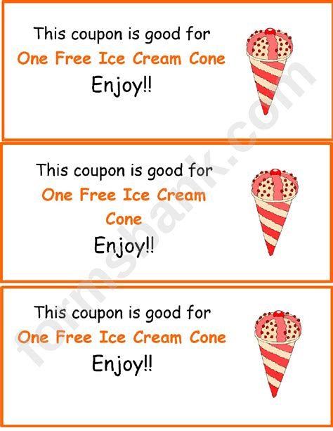 ice cream coupon template printable