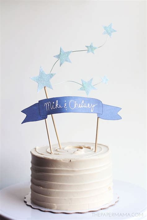 star and banner cake topper with free printables the