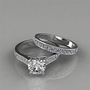 Cathedral Engagement Ring And Wedding Band Set