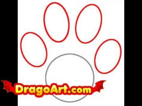 draw  paw print step  step youtube