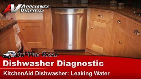 dishwasher leaking water  floor whirlpool kitchenaid