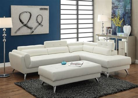 White Leather Sofa Ebay by Poundex F6977 White Bonded Leather Sectional Ottoman Sofa