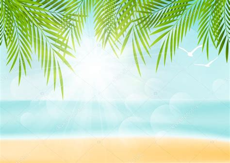 Vacation Background Images by Vacation Background With Palm Leaves Stock Vector