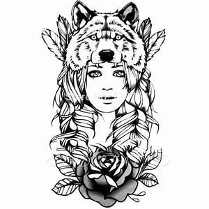 Loup Tatouage Geometrique : tatouage ephemere 21 grand visage fille loup beauty noir dos cuisse flash tattoo fashion sticker 21 ~ Melissatoandfro.com Idées de Décoration