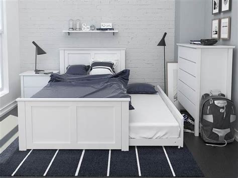 bella white king single trundle bed hardwood frame