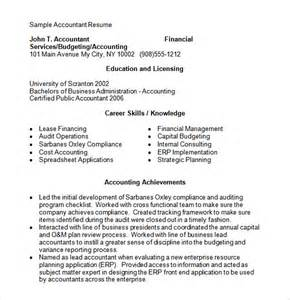 Accounting Resume Template Microsoft Word by Accounting Resume 9 Free Sles Exles Format