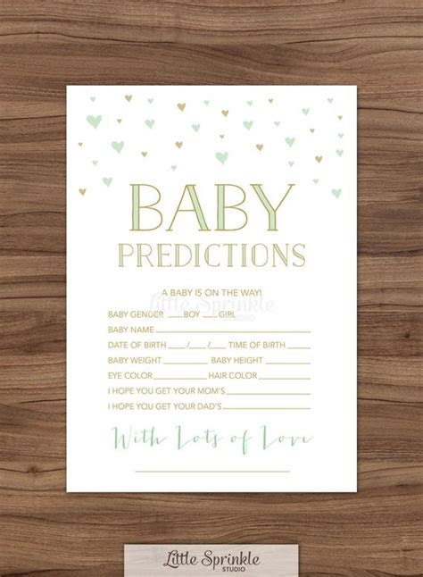 baby prediction card mint gold hearts gender neutral baby