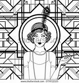 Coloring Retro Flapper Shutterstock Twenties Vector Adults Royalty Invitation Template sketch template