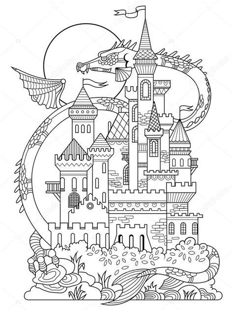 chateau  dragon coloriage livre vecteur image