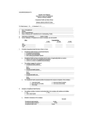 Fillable Online Annual Medical Report - Bureau Of Working