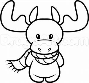 How to Draw a Christmas Moose, Step by Step, Christmas ...