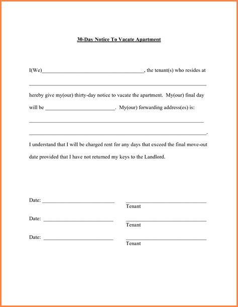 letter to landlord moving out 6 30 day move out notice template notice letter 8758