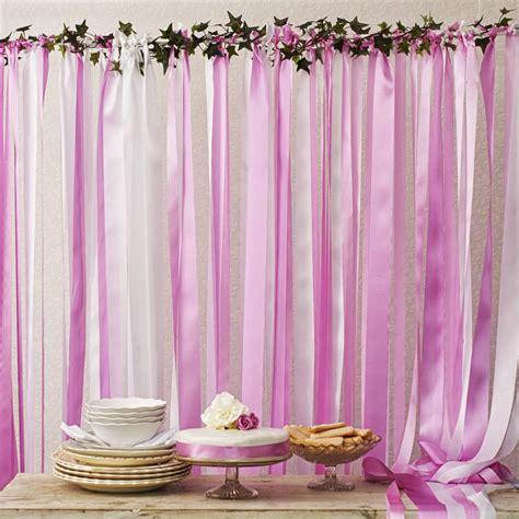 candy pinks ribbon backdrop  white pole  ivy