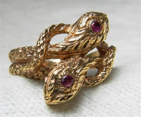 snake ring 14k unique engagement ring double serpent ring ruby ring vintage 14k gold serpent art