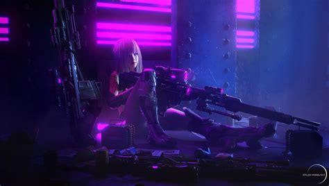 sci fi cyberpunk girl woman warrior tattoo weapon gun