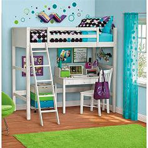 loft twin bunk bed furniture bedroom ladder desk and chair
