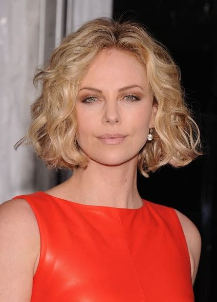 textured medium curly bob hairstyle charlize theron