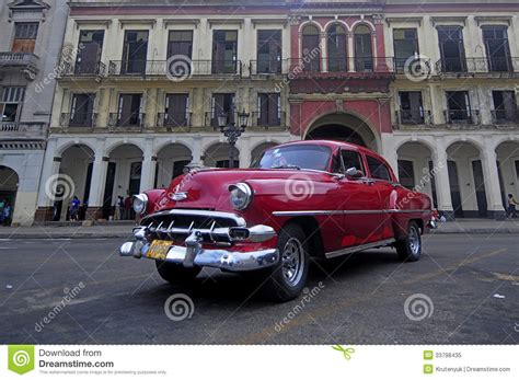 Old American Car On The Square In Front Of Capitolio