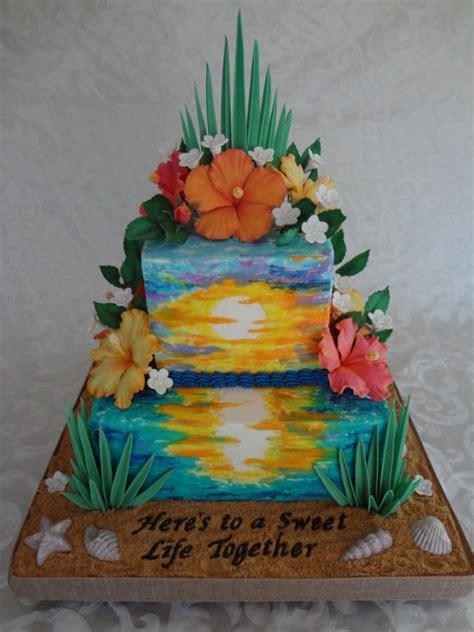 ideas  hawaiian theme cakes  pinterest