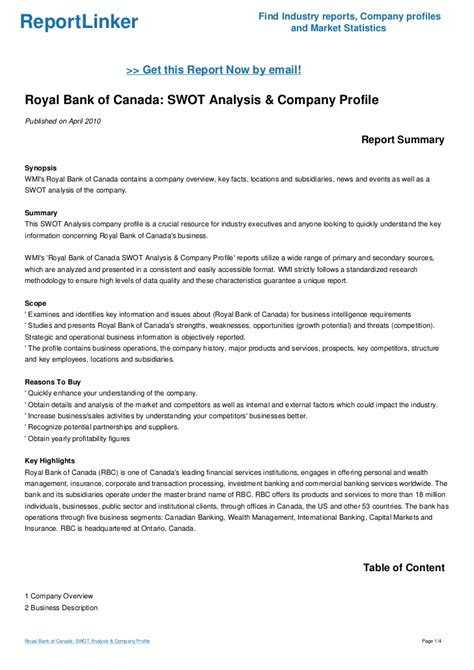 royal bank  canada swot analysis company profile