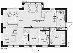Plan rdc maison ossature bois suedoise basse consommation for Plan de maisons gratuit 2 detail du plan de maison unifamiliale w3928