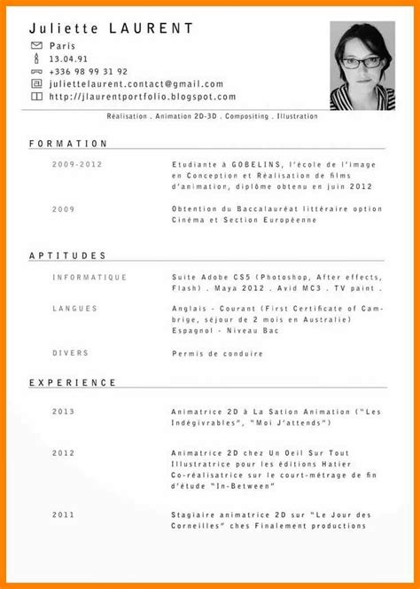 Template Cv Francais by Curriculum Vitae En Francais
