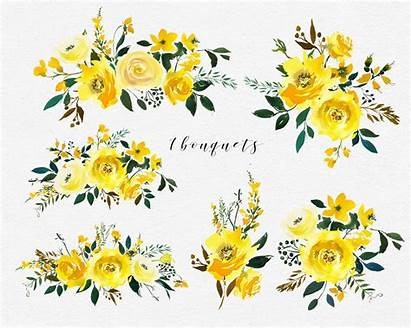 Watercolor Yellow Flowers Clipart Roses Peonies Clip