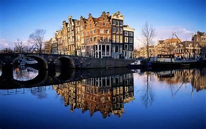 Amsterdam Grachten Windows Staat Afgebeeld Straat Vraag