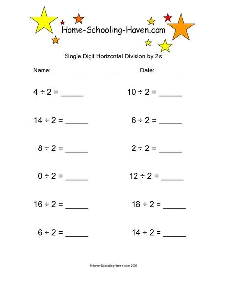 single digits division math worksheet single digit horizontal division by 2s worksheet for 4th