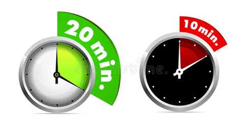 10 And 20 Minutes Timer Stock Vector. Illustration Of