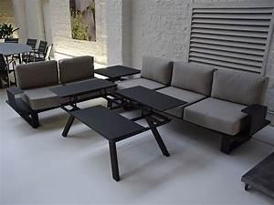Salon Jardin Angle : salon d 39 angle de jardin en aluminium anthracite coussins gris kiona ~ Teatrodelosmanantiales.com Idées de Décoration