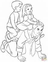 Coloring Pages Father Fathers Riding Dad Daughter Printable Horse Dads Drawing Ride Supercoloring Puzzle Crafts sketch template