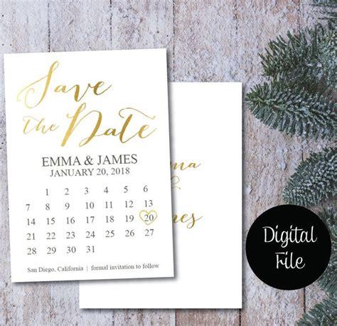 gold foil save  date calendarsave  date postcard