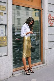 Gold Leather Pencil Skirt