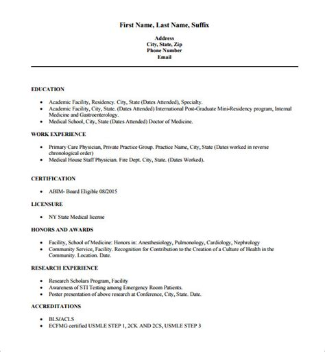 Doctor Resume Format by Doctor Resume Template 16 Free Word Excel Pdf Format